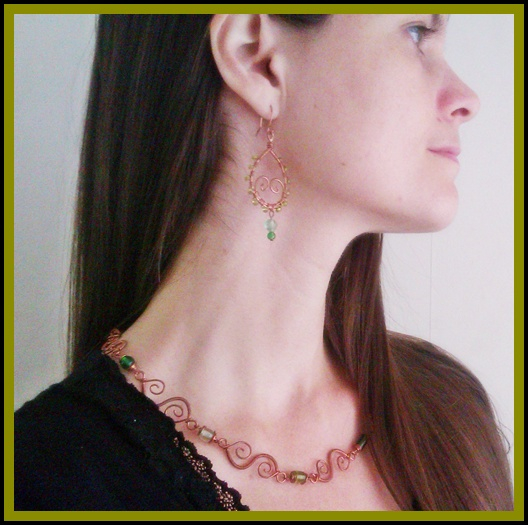 handmade copper necklace and earrings