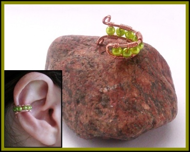 green beaded earcuff
