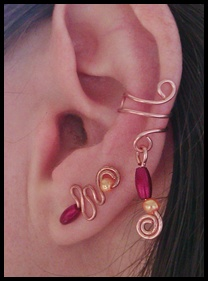 wire wrapped matching ear cuff and earvine