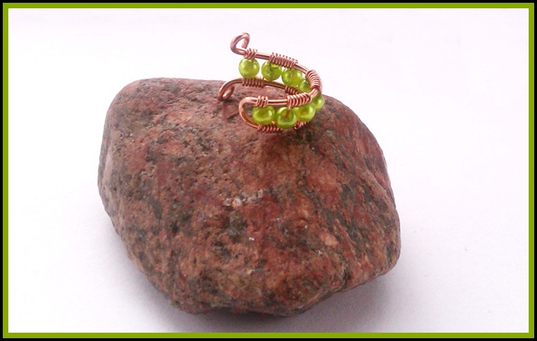 wire wrapped ear cuff with green beads