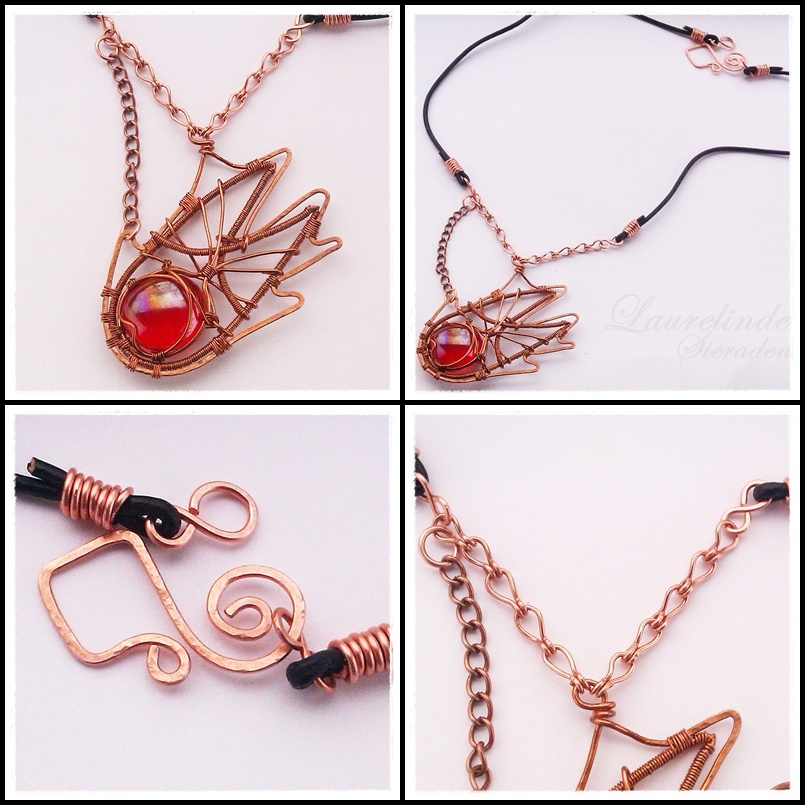 wire wrapped red comet pendant and leather necklace