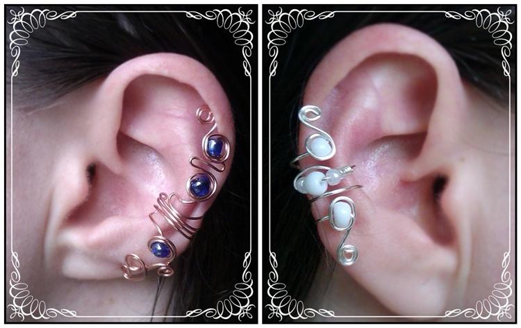 wire earcuffs, koper en blauw en wit en zilver