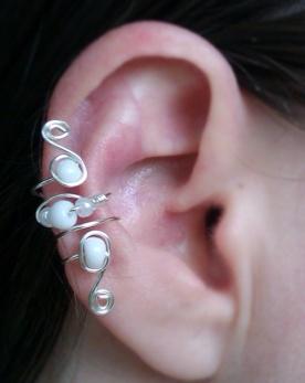 earcuff alane zilver en wit