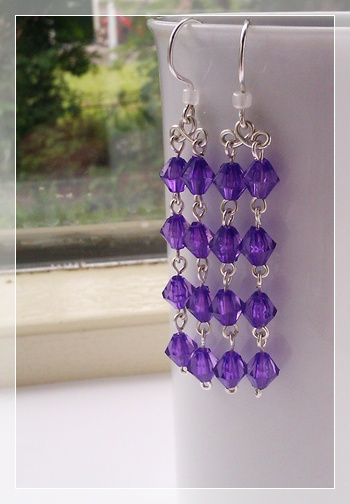 bright purple earrings, wrapped with Artistic Wire