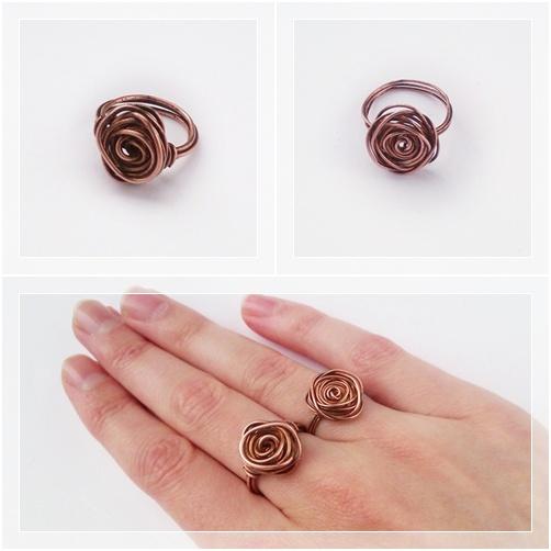 ringen met rozen van koperdraad