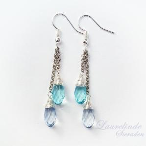 Blauwe druppel oorbellen