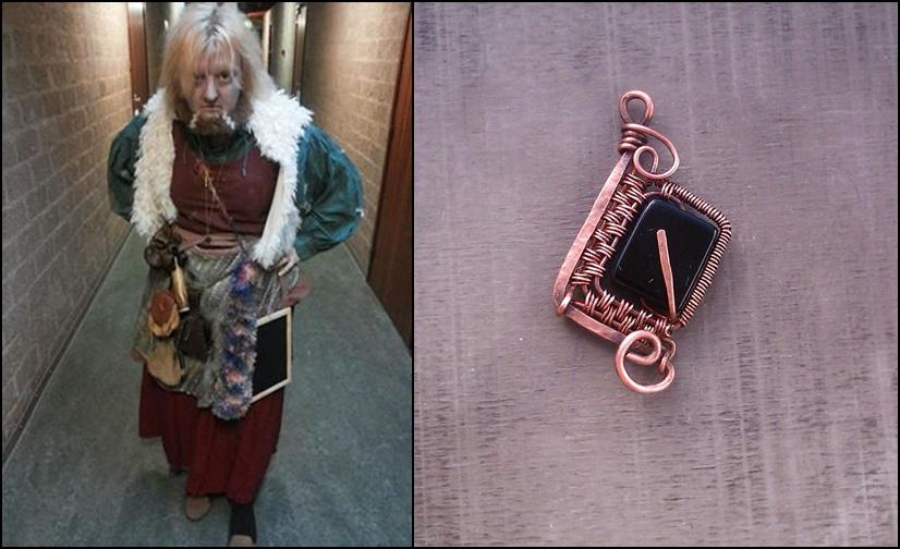 dwarf and her custom made rune pendant