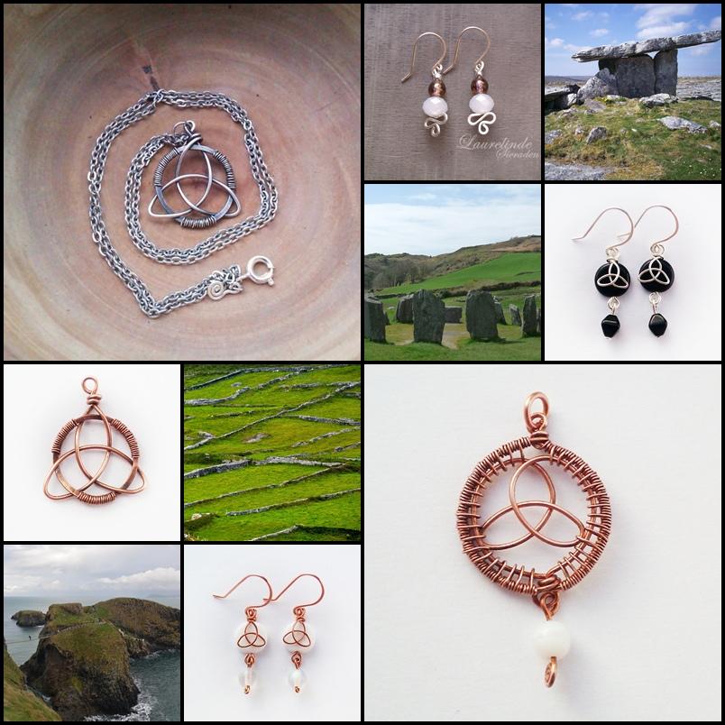 diverse keltisch geinspireerde sieraden, handgemaakt van koper en sterling zilver door Laurelinde Sieraden