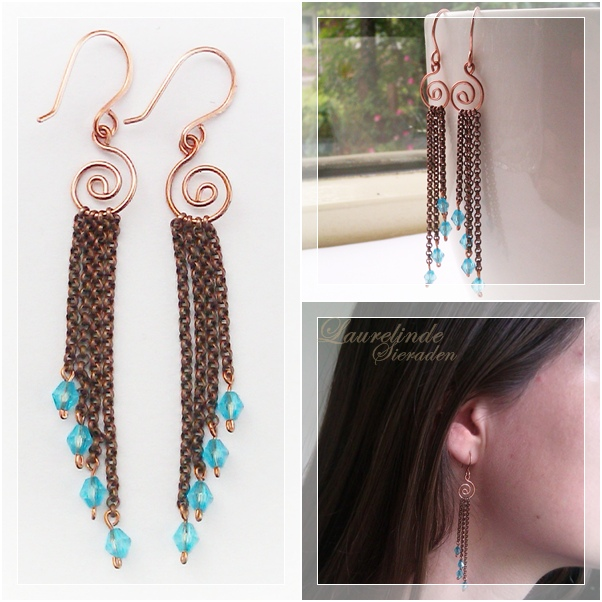 long copper Crete earrings, inspired by the beautiful waves splashing on the shores of Crete