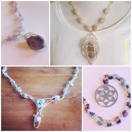wire sieraden en Bloem des Levens met gewrapte ketting van Aardekracht