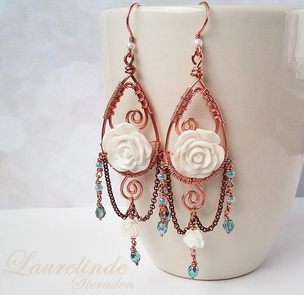 sierlijke rozen oorbellen