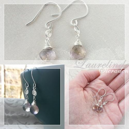 ametrien en sterling zilveren gewrapte oorbellen