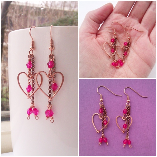 handmade copper and fuchsia heart earrings