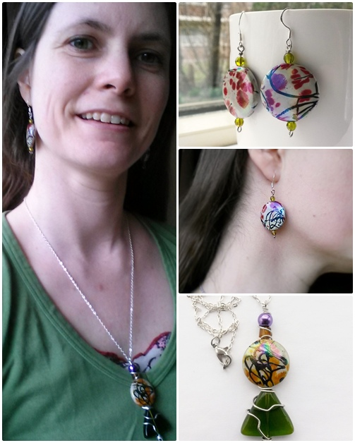 handmade colourful jewelry set