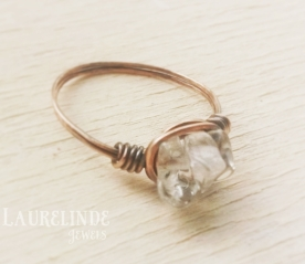 kristal en koper wire wrap ring