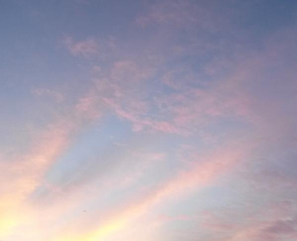 roze en blauwe lentelucht