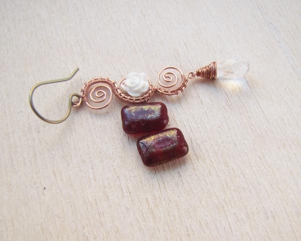 rode rechthoek kralen met wire oorbellen